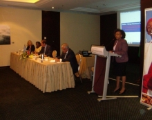 H.E. Mrs. Phyllis J. Kandie speaks at the first day of the forum